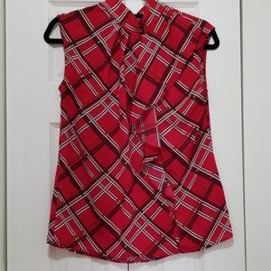 Sleeveless Red Plaid Blouse